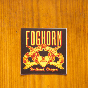 foghorn stringband sticker heart and hands